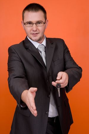 real estate agent holding keys Stock Photo - 3560935