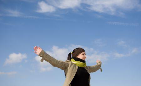 happy attractive brunette woman  outdoor photo