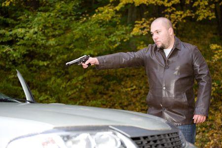 garde corps: danger gangster voyager en voiture Banque d'images