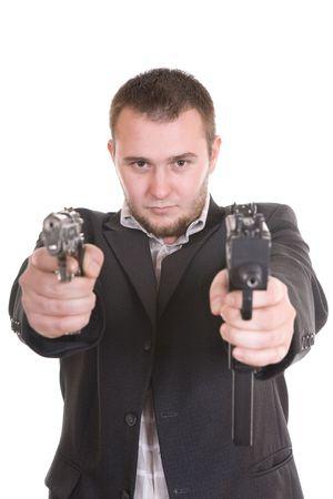 elegant gangster isolated on white background photo