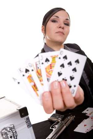 attractive brunette woman with cards . over white background