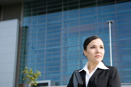 attractive, successful brunette businesswoman outdoor Stock Photo