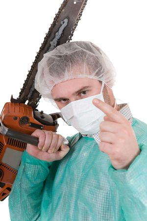 bad doctor isolated on white background with diesel saw photo