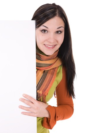attractive brunette woman holding board. over white background Stock Photo - 4153407