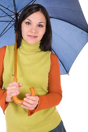 attractive brunette woman with umbrella over white background photo