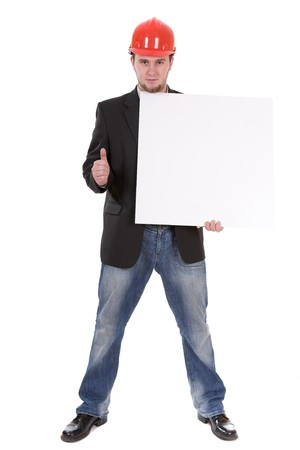 man with banner isolated over white background photo