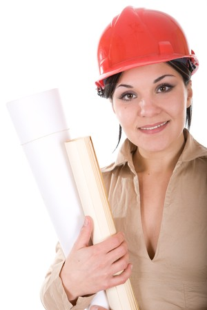 attractive brunette architect woman isolated photo