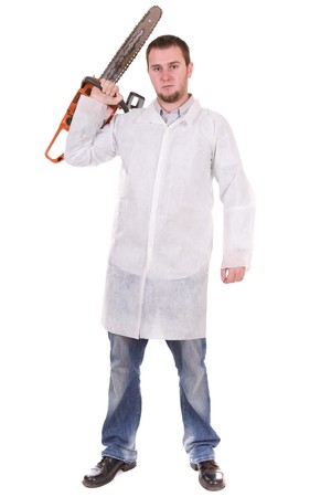 killer doctor isolated over white background photo