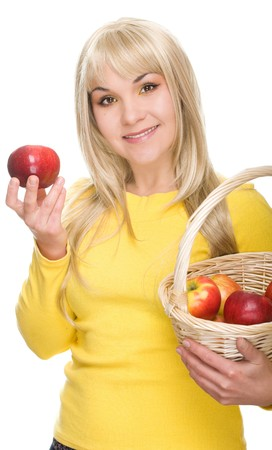 attractive woman with apple. over white background photo