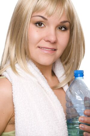 attractive blonde woman with bottle of water photo