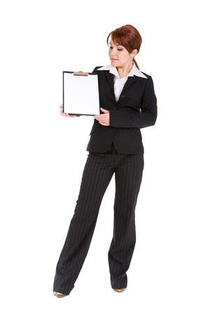 ad: attractive brunette businesswoman with board. over white background