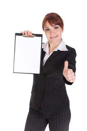 attractive brunette businesswoman with board. over white background photo