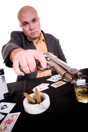 danger man with gun. over white background