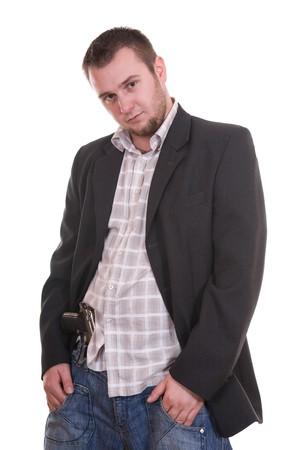 danger man with gun. over white background photo