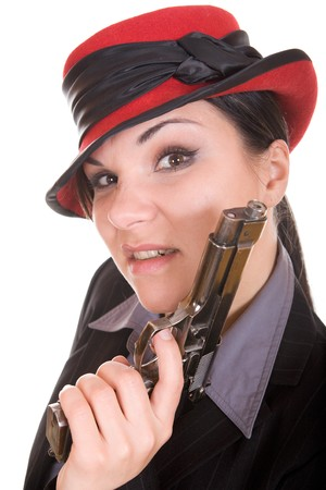 attractive brunette woman with gun. over white background Stock Photo - 4410708
