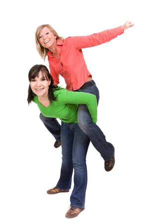 two crazy women in friendship. over white background photo