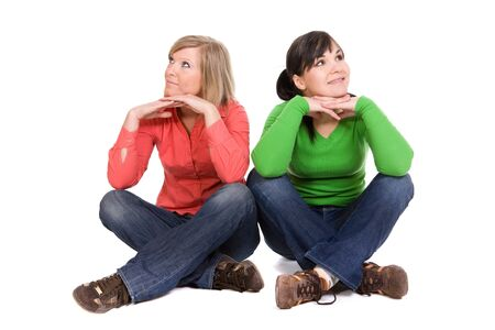two crazy women in friendship. over white background Stock Photo - 4425241