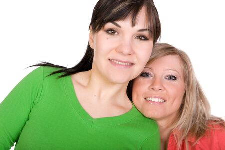 two crazy women in friendship. over white background Stock Photo - 4425296