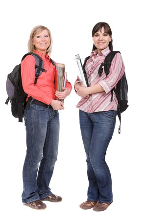 casual students isolated over white background photo
