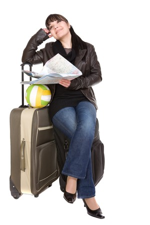 attractive brunette woman with suitcase photo