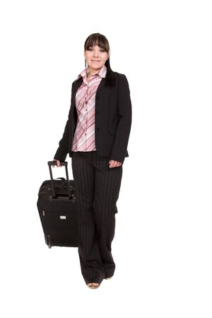 attractive businesswoman traveling with suitcase photo