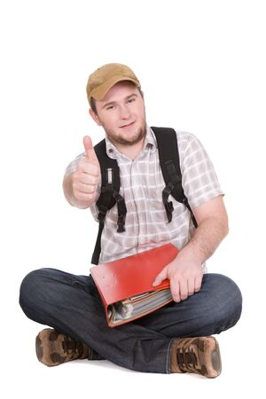 casual student over white background Stock Photo - 4512403