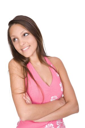 happy teen over white background Stock Photo - 4685701