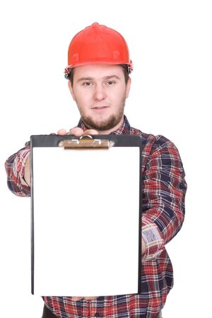 journeyman: worker with tools. over white background Stock Photo