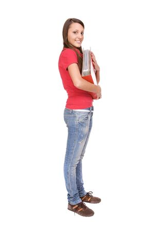 happy casual teenager ready to school Stock Photo - 4685690