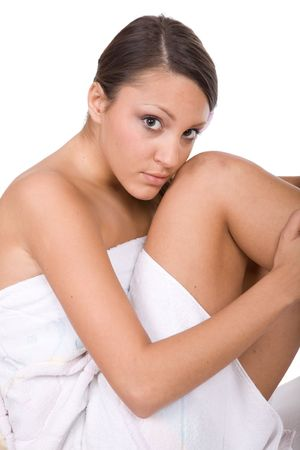 bodyscape: pure beauty fresh woman over white background