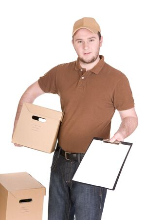 driver cap: delivery man with package. over white background