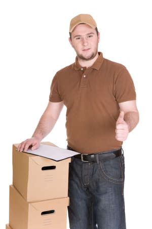 delivery man with package. over white background photo
