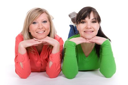 two women in friendship. over white background photo