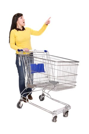 happy brunette woman with shopping cart. over white background Stock Photo - 4737401