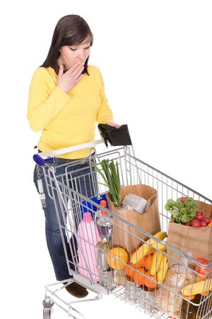 happy brunette woman with shopping cart. over white background Stock Photo - 4737457