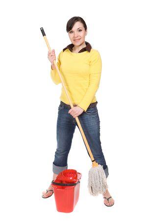 attractive brunette woman doing housework