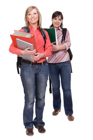 two happy students over white background photo