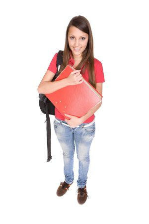 pretty teenager ready to school . over white background photo