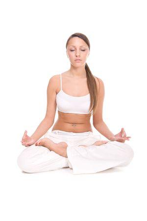 pretty brunette woman practice yoga Stock Photo - 4786089