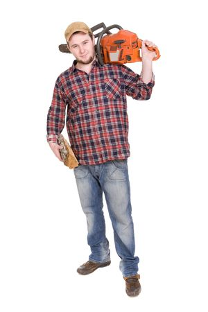 woodcutter: happy woodcutter with saw. over white background