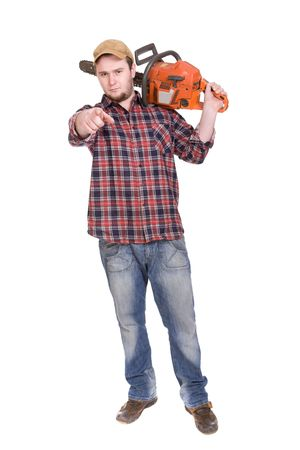 happy woodcutter with saw. over white background photo