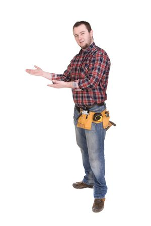workman with tools over white background Standard-Bild
