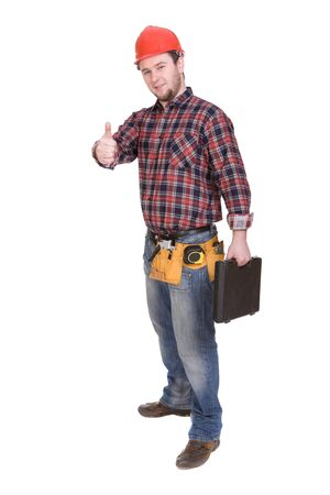 journeyman: workman with tools over white background Stock Photo