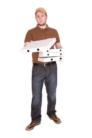 happy man with pizza delivery. over white background photo