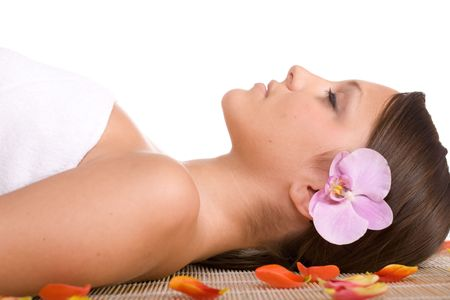 young woman relaxing in massage Stock Photo