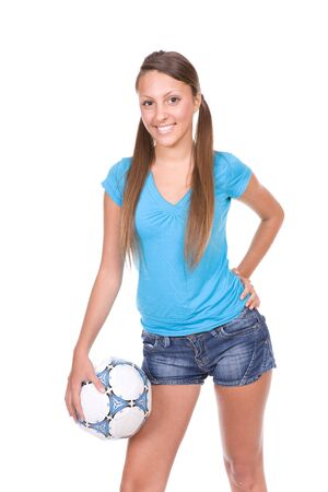 happy young woman with ball. over white background photo