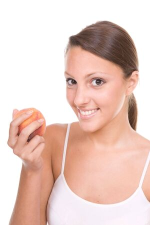 happy young perfect body woman with apple  photo