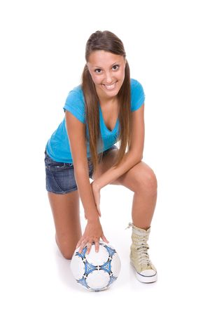 young happy woman with ball. over white background photo