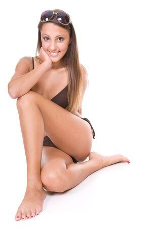 young beautiful woman in bikini. over white background Stock Photo - 5944503