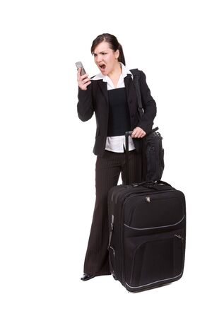 young businesswoman with suitcase. over white background photo